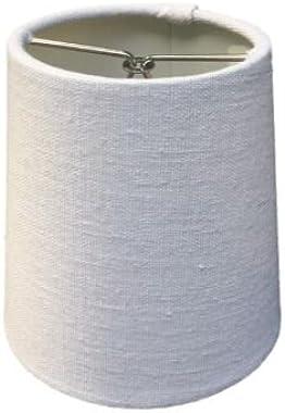 Upgradelights White Linen 4 inch Retro Drum Clip On Chandelier Lampshade 3x4x4