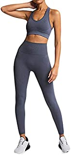 XFKLJ Sports Bra Yoga Pants Women's Pure Color Hip-Lifting Sports Fitness Running High-Waist Vest Yoga Suit Sportswear Wor...