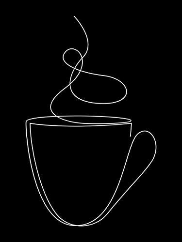 Queence | Acrylglasbild 'Tea-Time' | Wandbild | Glasbild | Acrylbild | Rahmenlos | 'One Line Collection' | mit Aufhängesystem, Größe:60x90 cm