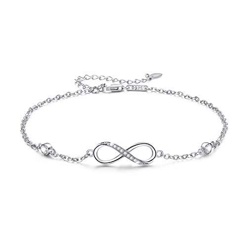 Sterling Silver Infinity Anklet Bracelet Jewelry Gift Endless Love Symbol Anklet Charm Adjustable Ankle Bracelet Chain Gift for Women Girl Her Lover (Silver)