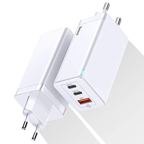 Cargador USB C 65W GaN Tech,Baseus Cargador Portatil Movil universal con Power Delivery USB Multiple PD Carga rapida para iPhone 12 Pro, MacBook,iPad Pro,Samsung,Pixel,Huawei P20,USB-C Laptop (Blanco)