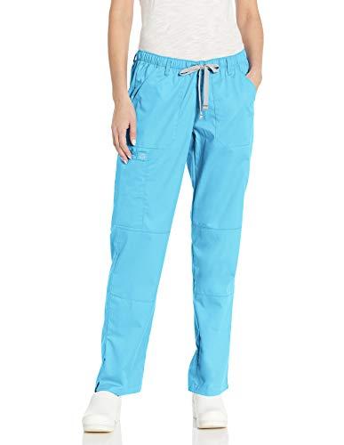 WonderWink Women's Wonderwork Straight Leg Cargo Scrub Pant, Light Turquoise, X-Large