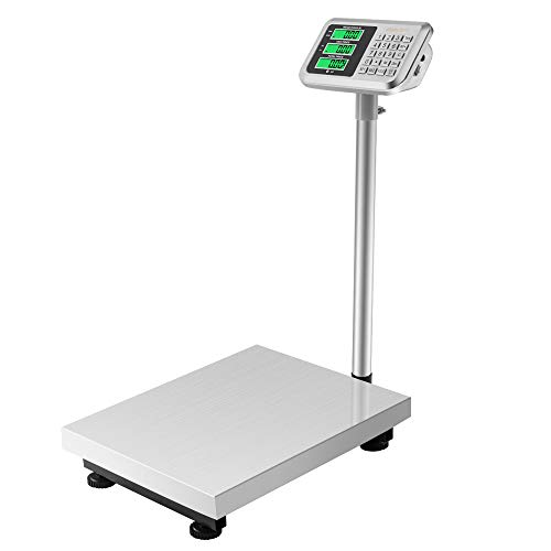 Goujxcy 661lbs Weight Electronic Platform Scale,Stainless Steel High-Definition LCD Display,Digital Floor Heavy Duty Folding Scales,Perfect for Luggage Package Price Computing Postal Shipping Mailing
