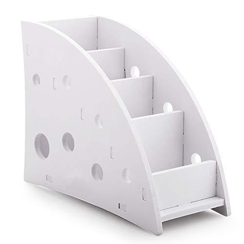 Fernbedienung mit 4 Fächern, SourceTon TV-Fernbedienung aus weißem Holz-Kunststoff-Verb&material mit 4 geräumigen Fächern