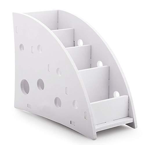 Organizador de Control Remoto de 4 Compartimentos, SourceTon Tablero Compuesto de Madera y plástico Blanco Soporte Remoto para TV con 4 Compartimentos espaciosos