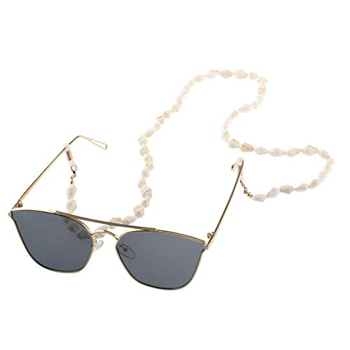 Aysekone 1 Pack Fashion Chic Conch Shell Reading Glasses Chain Sunglasses Reading Beaded Glasses Chain Eyewear Cord Holder Neck Strap Rope Eyeglass String Lanyard