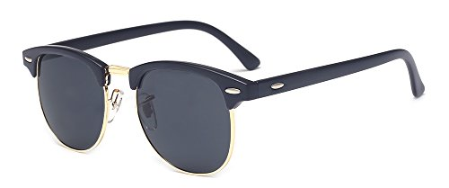 Outray Vintage Half Frame Horn Rimmed Sunglasses Polarized For Men Women 2142a1 Black