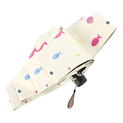 Unbekannt Regenschirm Kleine Regenschirme Winddichter 6-Rippen-Aufbau, UV-Schutz, sofort trocken, tragbarer, Faltbarer Regenschirm (Farbe : Beige, größe : 90cm×52cm)