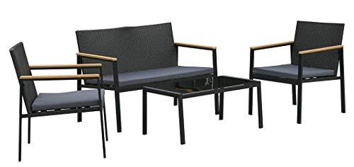 Outsunny Set 4 Pezzi Salotto da Esterni con 2 Sedie, Divano e Tavolino   Mobili da Giardino in Rattan e Acciaio Nero