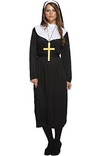 Fancy Me Femme Traditionnel catholique Nonne Uniforme Religieux Costume Déguisement STD & Grande Taille - Noir, STD (UK 10-14)