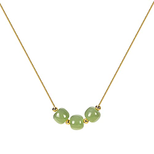 Gold Plated Necklaces Bamboo Link Hetian Green Jade Beads Pendant Necklace, Good Luck Necklaces Gifts for Her Valentine's Gifts