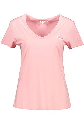 Calvin Klein Jeans Damen Monogram Slim V-Neck Tee T-Shirt, Soft Berry, X-Small
