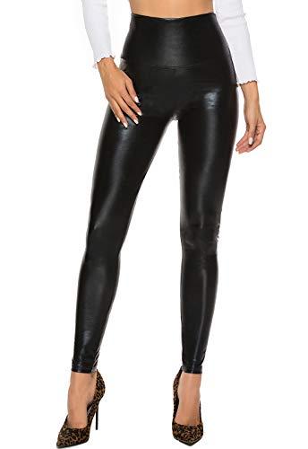 FITTOO Mujeres PU Leggins Cuero Brillante Pantalón Elásticos Pantalones para MujerG300-2 Negro Brillante M