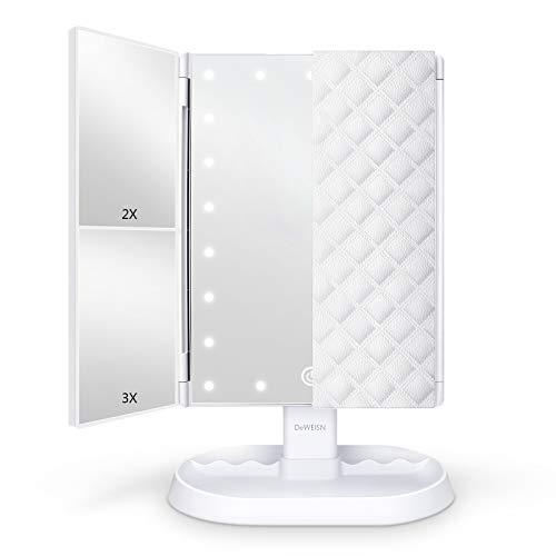 deweisn Espejo Maquillaje con Luz, Espejo de Tocador Iluminado con 1x/2x/3x Aumento, 21 LED Portátil Espejo Triple Pantalla Táctil Rotación de 90° Espejo Cosmético para Viaje, Regalo para Mujeres