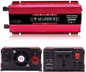 Inversor sinusoidal 2000W, inversor de potencia de vehículo de 12V 24V DC a 110V / 220V, con enchufe universal de CA y cargador de automóvil USB de 5V / 2.4A adecuado para computadoras portátiles, exc