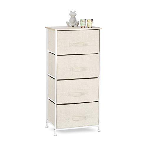 Relaxdays Regalsystem, 4 Stoff-Schubladen, universale Schubladenbox, Metall und Holz, HxBxT: 105 x 45 x 30 cm, beige