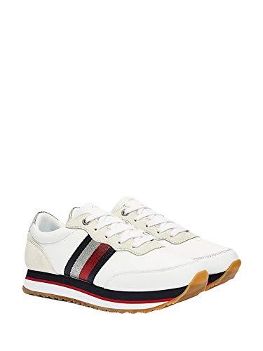 Tommy Hilfiger Tape Sneaker White FW0FW04997YBR Zapatillas para Mujer, 39