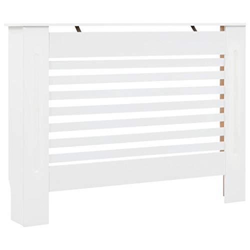 Festnight Cubierta para Radiador Mueble para Radiador Cubre Radiadores MDF Blanco 112x19x81,5 cm