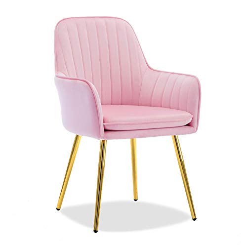 Altrobene Modern Velvet Accent Arm Chair Pink with Golden Legs, Living Room Bedroom Dinging Chair