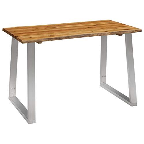vidaXL Akazienholz Massiv Esstisch Industrial Baumstamm Esszimmertisch Küchentisch Holztisch Speisetisch Tisch 120x65x75cm Edelstahl