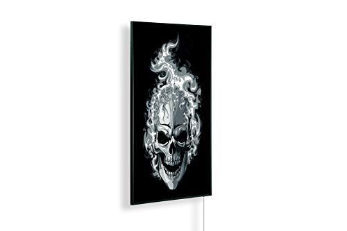 Könighaus Radiateur infrarouge lointain – Chauffage d'image de qualité HD avec certification TÜV/GS – 200+ images – 800 W – breveté – Cadre noir (242ème tête de mort Hell-Rider) Black Edition