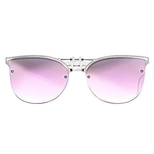 TERAISE Dames clip-on zonnebril voor brillen op sterkte - Gepolariseerde flip-up vintage Cat Eye zonnebril rijden voor dames