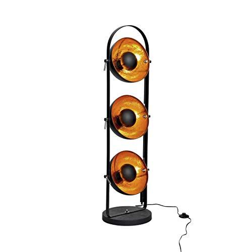Butlers SATELLIGHT Stehleuchte aus Metall 128x48 cm in Schwarz-Gold - Lampe im Retro-Design als ideale Innenraum Beleuchtung mit 3 Scheinwerfern - Industrial Look für Ihr Schlaf- und Wohnzimmer