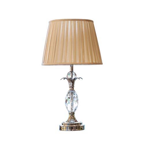 JJH Lámpara de Mesa de Arte de Cristal de Lujo, lámparas de Noche Modernas de Estilo Europeo, Tela Beige Pantalla de Tela E27 Bombilla, Sala de Estar Iluminación Decorativa