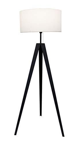 Lámpara de pie Kuno negro + trípode de metal blanco 153cm 10841