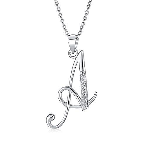Letter A Cursive Script Initial Pendant Necklace