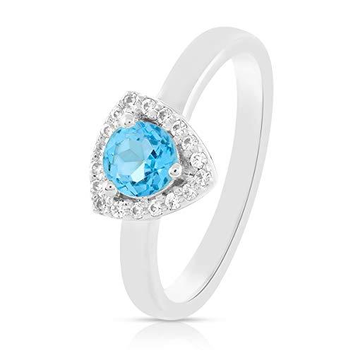 Anillos Gemshiner para niñas anillo de piedras preciosas de topacio azul azul anillo de plata de ley 925 para mujer, regalos de cumpleaños para mamá, esposa, boda (Rodio plateado)
