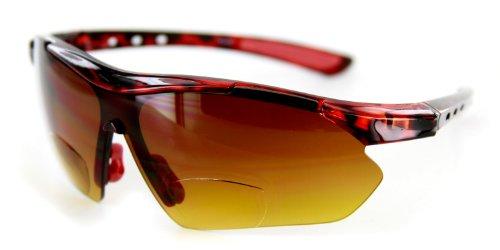 Aloha Eyewear Daredevil Mode Bifokalwillen Sonnenbrille mit Wrap-Around Sports Design und Anti-Glare Beschichtung (Tortoise + Red W/Bernstein +3.00) 3 70 regulär Schildkröte Red