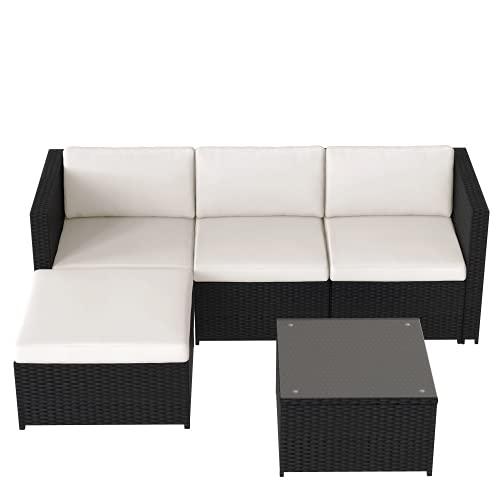 Boomersun Conjunto de sofá esquinero con cojines de asiento y respaldo, mesa con tablero de cristal, color negro