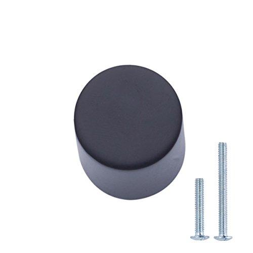 AmazonBasics - Pomo de armario, con forma de silbato, 1,9 cm de diámetro, Negro liso, Paquete de 25