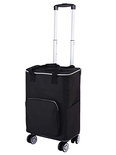 Falytemow Collapsible Utility Cart with Insulation Bag Foldable Reusable Shopping Trolley Bag with Wheels and Telescoping Handle Waterproof Oxford Fabric Folding Grocery Cart (Black)