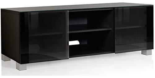 VCM Aufgebautes TV Lowboard Rack Fernsehschrank Tisch Möbel Schrank 2 Glastüren 2 offenen Fächern Schwarz 150cm