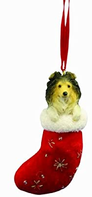 """Sheltie Christmas Stocking Ornament with """"Santa's Little Pals"""" Hand Painted and Stitched Detail by E&S Imports, Inc"""