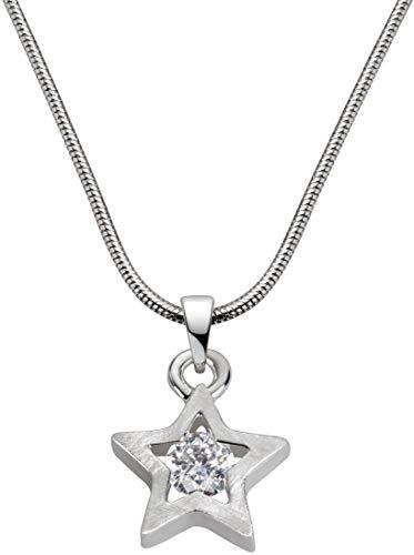 Perlkönig Kette Halskette | Damen Frauen | Silber Farben | Stern förmig | Glitzer Stein |Nickelabgabefrei
