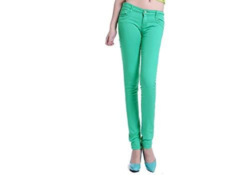 AOZLOVEC Pantalones vaqueros de cintura alta Mujer Casual Color caramelo Lápiz Legging Pantalones pitillo Pantalones Vaqueros 27 verde