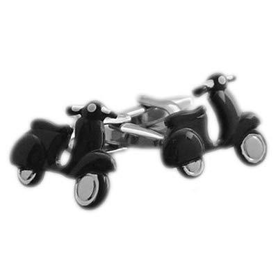 Gemelolandia   Gemelos Scooter Vespa Negra Gemelos Originales Para Camisas   Para Hombres y Niños   Regalos Para Bodas, Comuniones, Bautizos y Otros Eventos