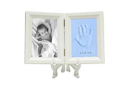 BabySun – Marco de fotos de madera y huella de bebé, huella de arcilla de mano o pie de bebé, regalo de recuerdo para recién nacidos y niños pequeños, regalo bautizo turquesa