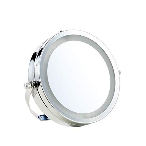 Miroir de maquillage à double face LED Rotation à 360 degrés Grossissement de 3 fois HD Mirror Desktop Silver, Silver