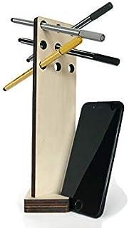 Portapenne da scrivania con stand per smartphone in legno tagliato a laser personalizzabile pioppo Portapennarelli colorat...