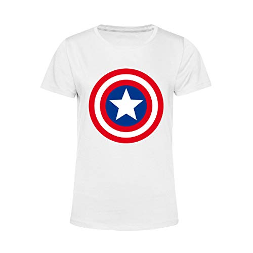 Art T-shirt, Camiseta C America Superhero, Mujer, Color blanco., M