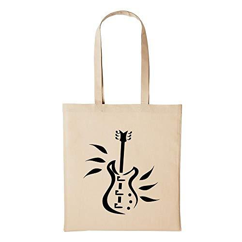 Hellweg Druckerei Jutebeutel E-Gitarre Gitarre Guitar Musik Geschenk-Idee für Damen und Herren Tasche Baumwolle für Freunde und Familie