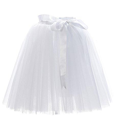 Damen 7 Schichten Knielang Tüllrock Tutu Tüll Kleid Rock Reifrock Abendrock Weiß