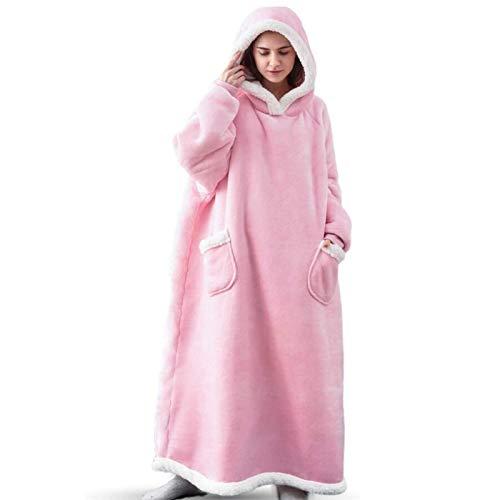 KPII Manta Mujer De Sudadera con Capucha, Super Soft Warm Premium Sherpa Fleece Sweatshirt, Adultos Talla Unica,Rosado,One Size