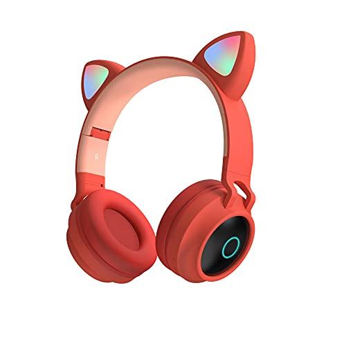 Lindo Estéreo Auriculares para Juegos con Micrófono, Gato Oreja con Luz LED Parpadeante Brillante Moda Bluetooth Inalámbrico Ligero Ajuste Automático sobre Auriculares para Mujeres Niños