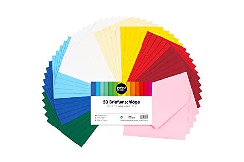 perfect ideaz 50 sobres coloridos de 11 x 15,5 cm (aptos para A6), sobres reciclados sin ventanilla, fabricados de forma sostenible en Alemania, envoltorio para cartas, 10 colores, adhesión en húmedo