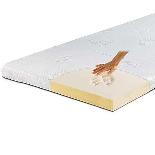 maxVitalis Viskoelastischer Matratzen-Topper, Orthopädische MemoryFoam Matratzenauflage, Viscoauflage, Wendefunktion mit 2 Härtegraden, inkl. Aloe Vera Bezug (90 x 190 cm, Viskoschaum 7 cm)
